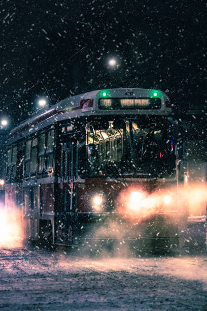 A 506 street car in Toronto in snowy conditions during a winter storm.