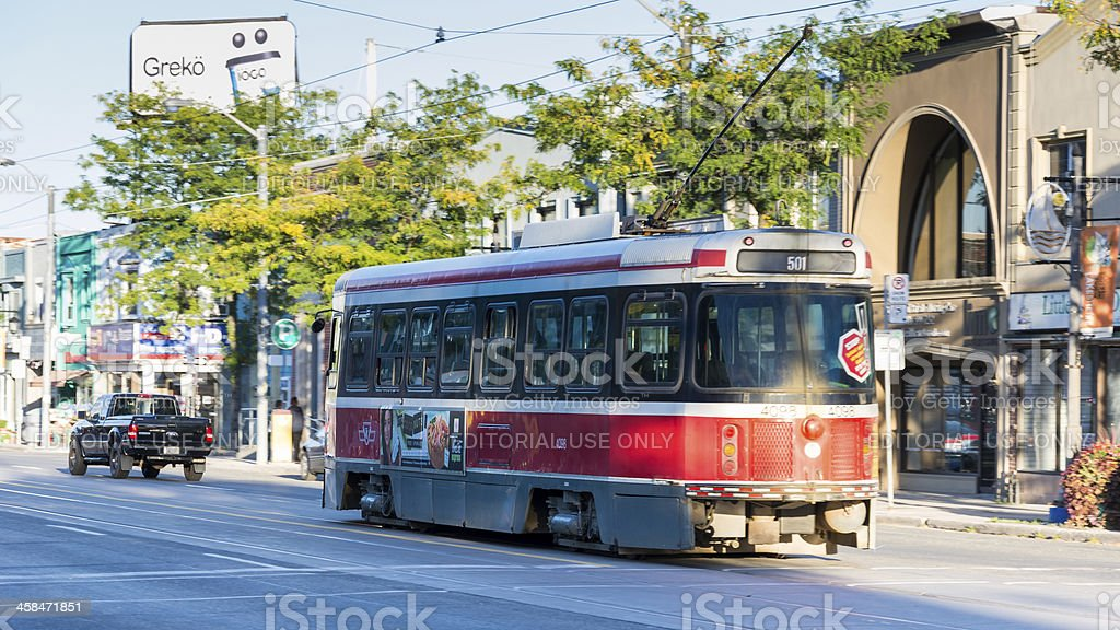 Street Car Passing By in Lakeshore Blvd,Toronto royalty-free stock photo