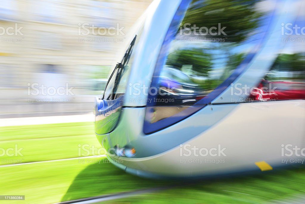 Street car, tram, panning, on grass royalty-free stock photo