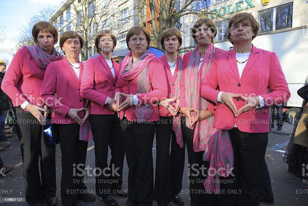 street carnival Angela Merkel parody stock photo