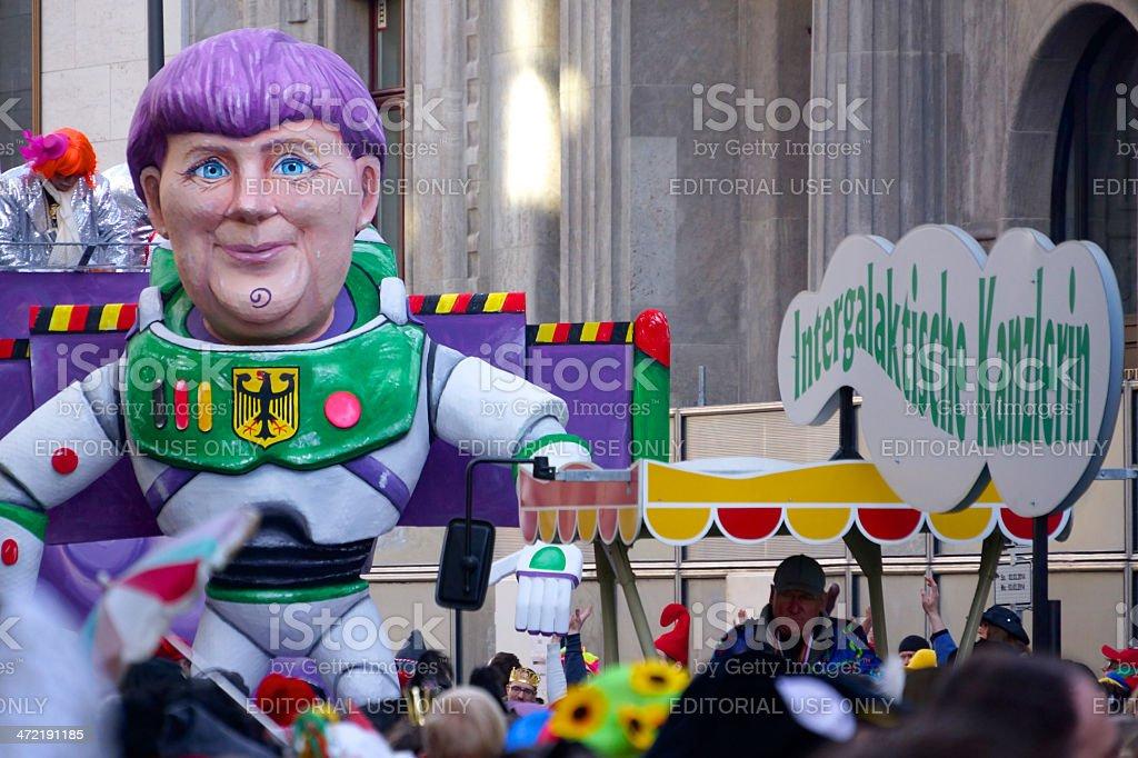 Street Carnival Cologne 2014 Angela Merkel stock photo