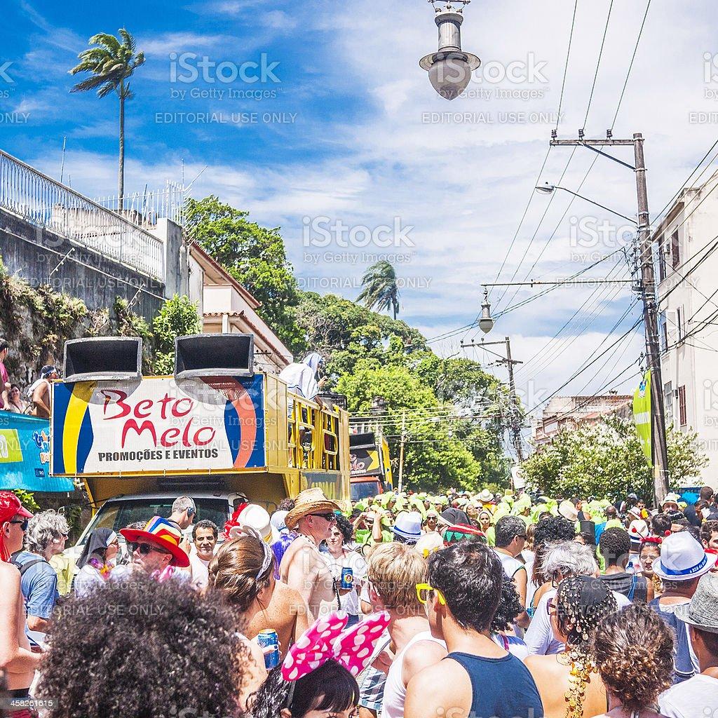 Street carnival crowd. stock photo