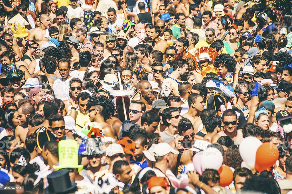 Street carnival crowd. stock photo
