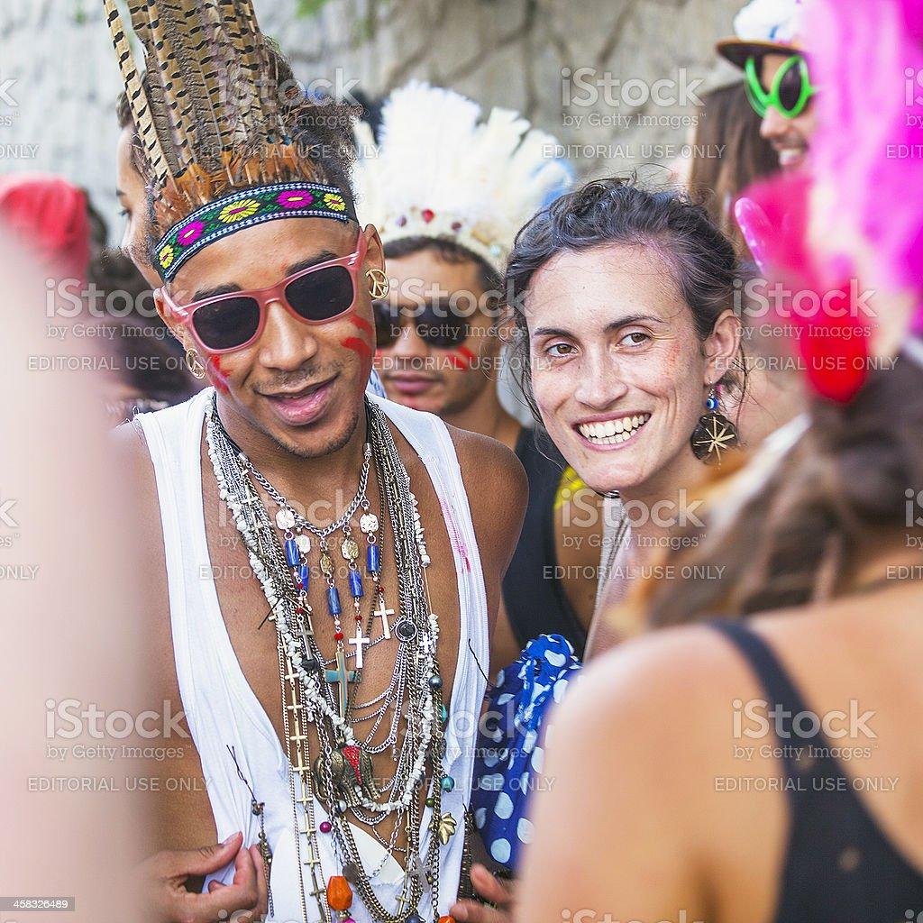 Street carnival participants. stock photo