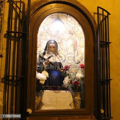 Street Chapel with figurine of Santa Rita, patron saint of desperate causes, in Palermo