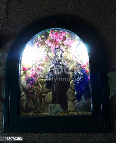 Street Chapel with figurine of Santa Rosalia in Palermo, the Patron Saint of Palermo