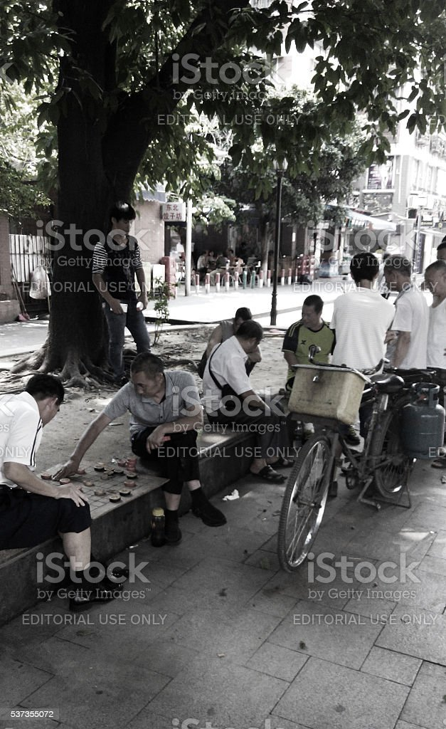 Street Chinese chess boardgame, Guangzhou stock photo