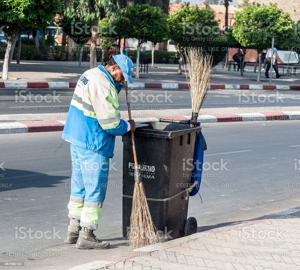 Street cleaner, Marrakech, Morocco royalty-free stock photo