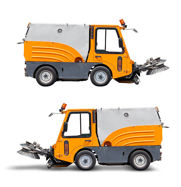 Street cleaning vehicle, isolated on white with clipping path Street cleaning vehicle, side view, isolated on white with clipping path for your convenience.  Upper version without shadow. The shadow of lower version is not included in area enclosed by clipping path. street sweeper stock pictures, royalty-free photos & images