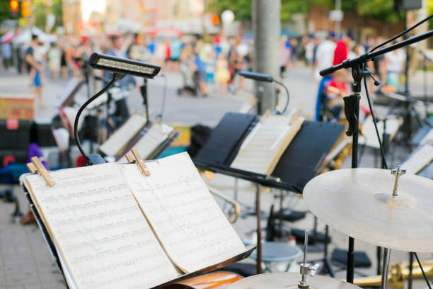 Street concert set up stock photo