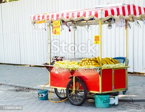 Street corn vendor in Turkey Istanbul
