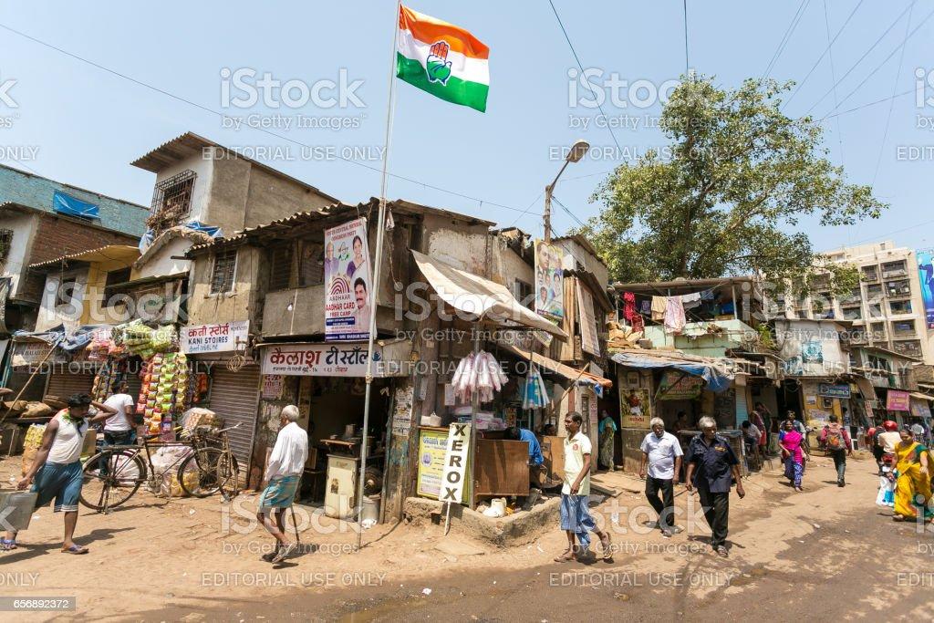 Street corner, Dharavi slum, Mumbai, India stock photo