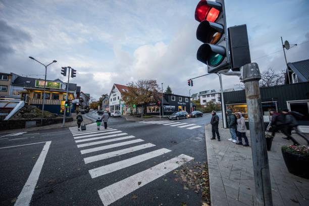 Street corner in Tórshavn, Faroe Islands stock photo