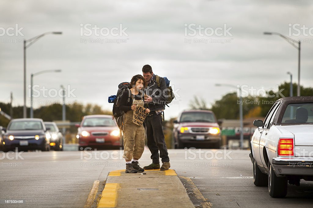 Street couple in chicage stock photo