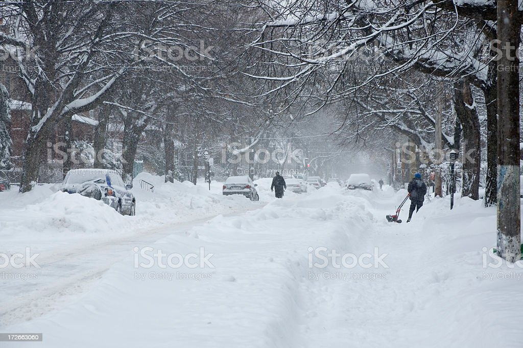 Street covered by snow in the winter stock photo