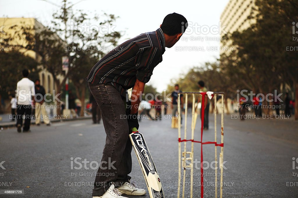 Street Cricket On Karachi Roads Pakistan Royalty Free Stock Photo