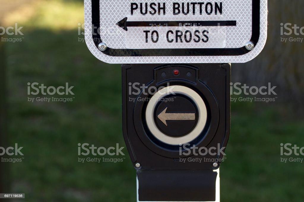 Street Crossing Button stock photo