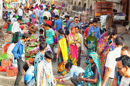 Street Crowded With People In Jaipur India Stock Photo - Download Image Now