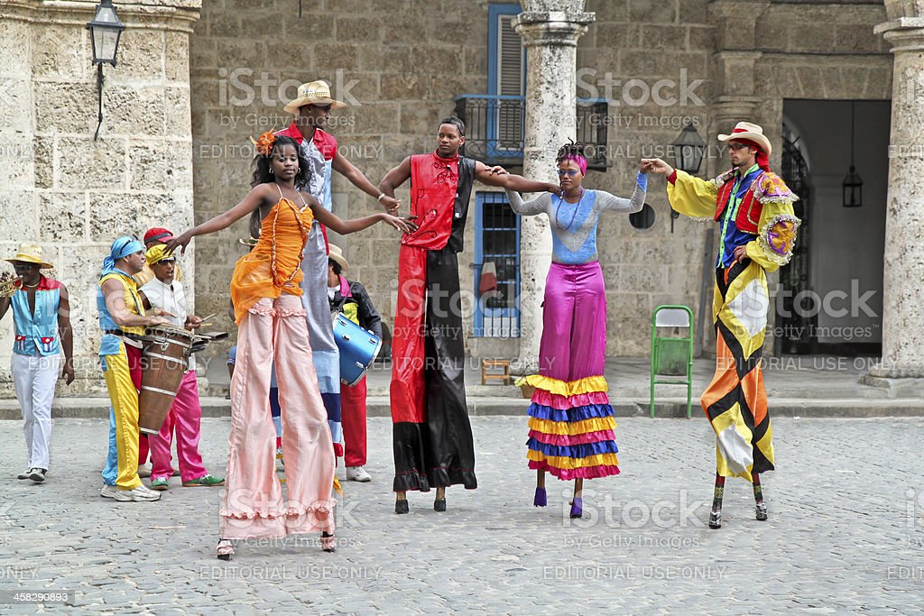 Street dancers in Havana. Cuba stock photo