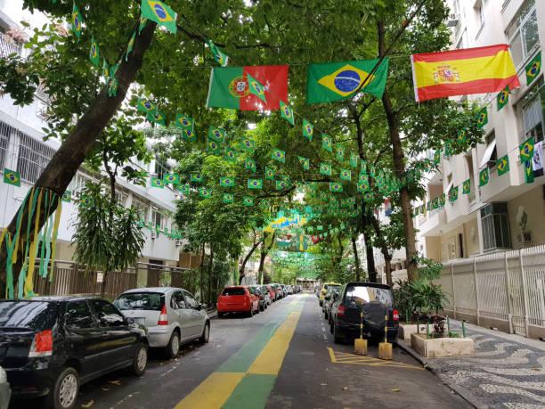 street inredda - football portugal flag bildbanksfoton och bilder