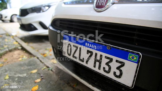 salvador, bahia / brazil - june 11, 2020: vehicle plate in the Mercosul standard is seen in the city of Salavador.