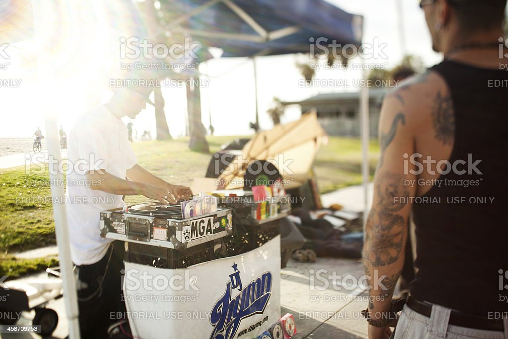 Street DJ at Venice Beach stock photo