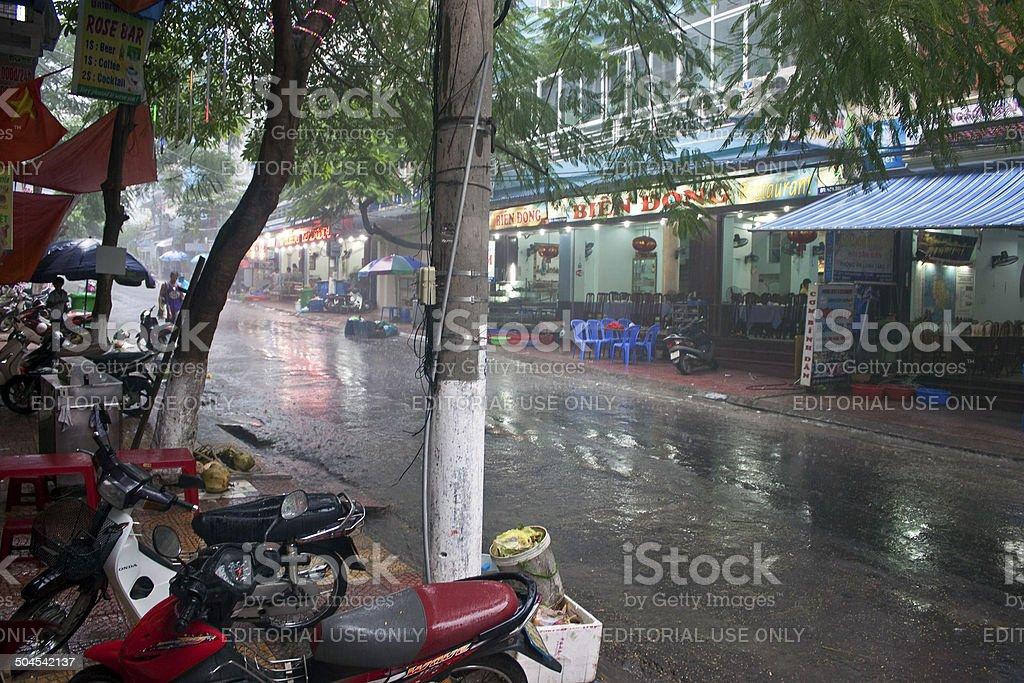Street during a monsoon rain stock photo