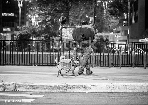Sao Paulo,BR, july 11,2019 Homeless man with two dogs crossing the street