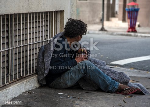 São Paulo, SP, Brazil, July 28,2019 People who spend their nights sleeping on the streets, under marquees, in squares, under overpasses and bridges are considered homeless people.
