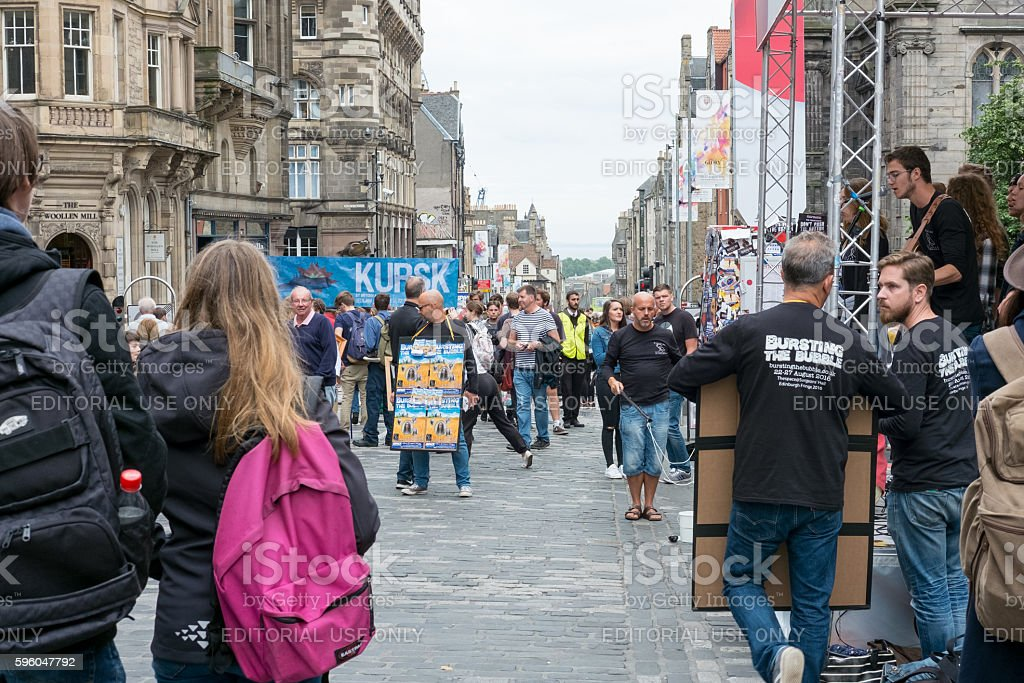 Street Entertainer at Royal Miles in Edinburgh, United Kingdom royalty-free stock photo