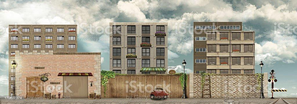 Street facade on the city royalty-free stock photo