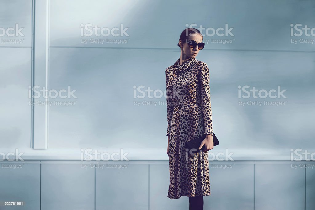 Street fashion concept - pretty elegant woman in leopard dress stock photo