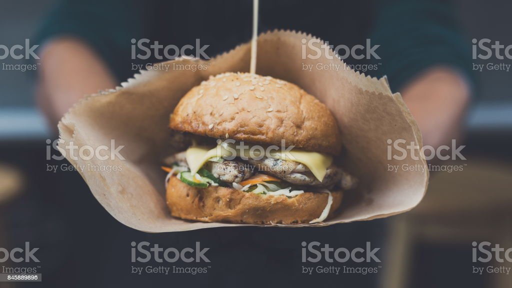 Street fast food festival, hamburger with bbq grilled steak stock photo