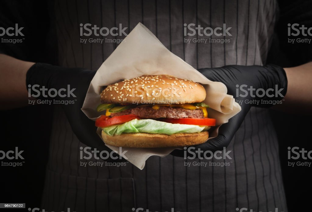 Street fast food festival, hamburger with bbq grilled steak royalty-free stock photo