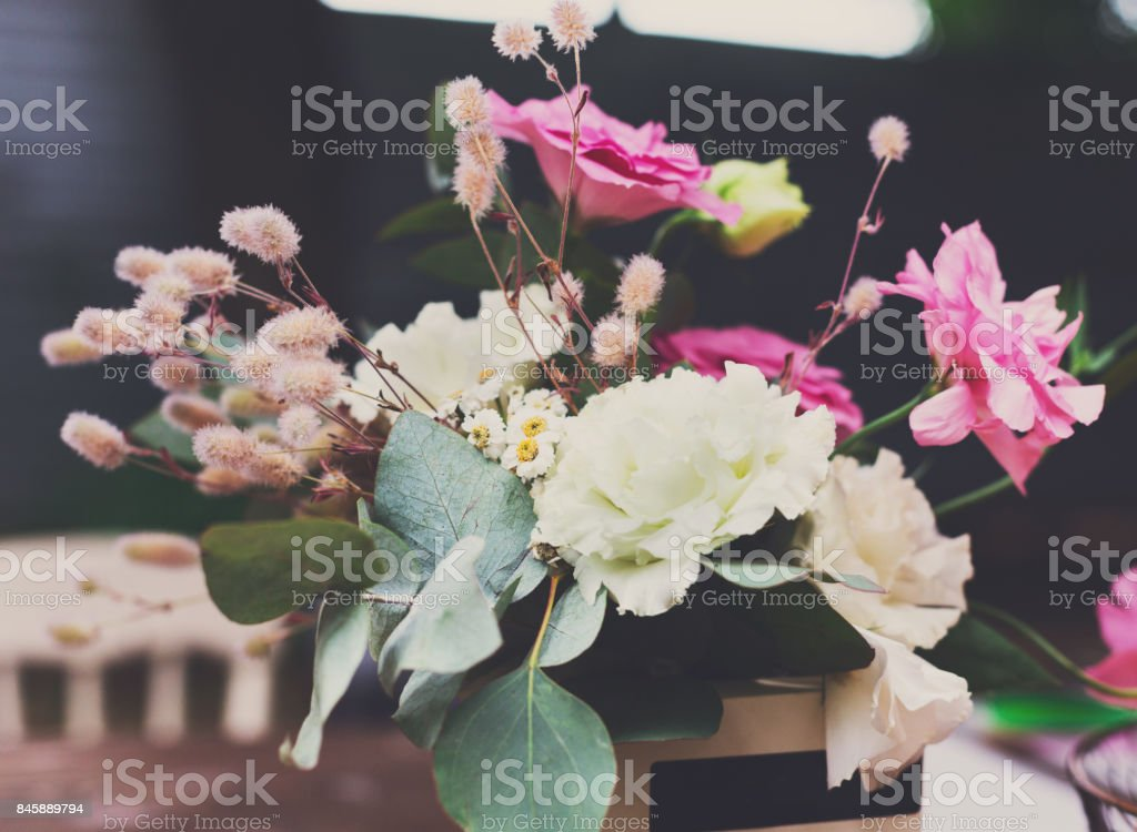 Street Fast Food Festival Vase With Flowers On Table Stock Photo Download Image Now Istock