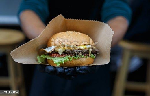 istock Street fast food, hamburger with bbq grilled steak 626966852