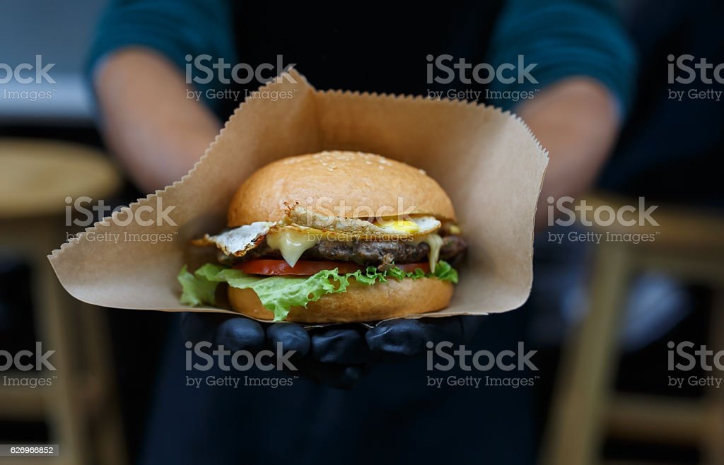 Street fast food, hamburger with bbq grilled steak stock photo