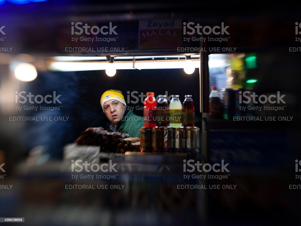 Street fastfood seller in Manhattan. stock photo