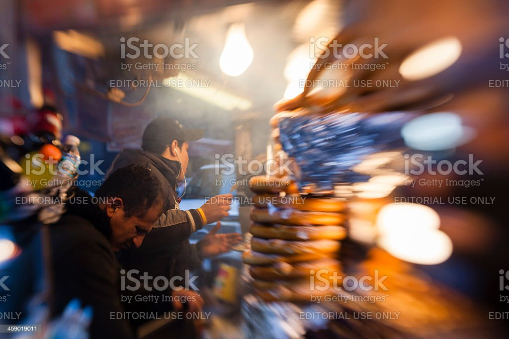 Street fastfood sellers in Manhattan. stock photo