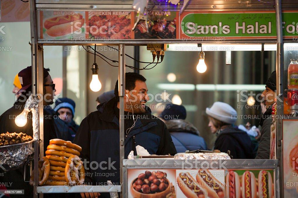 Street fastfood sellers in Manhattan. stock photo