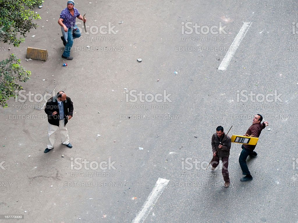 Street fighting - Egypt royalty-free stock photo