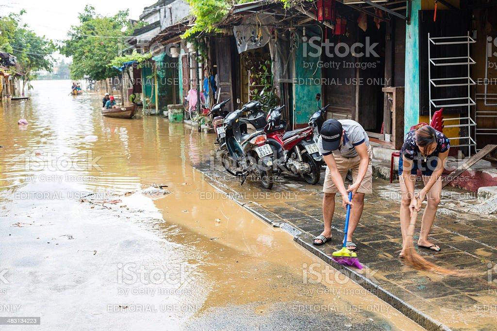 Street flooded in Hoi An, Vietnam stock photo