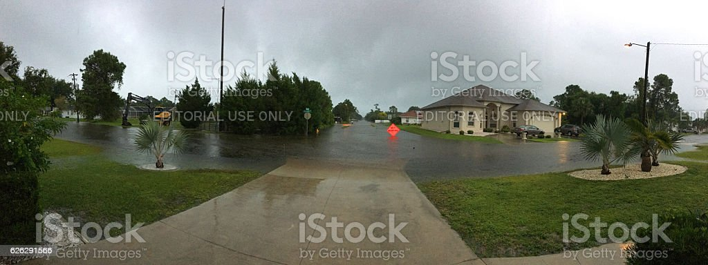 Street flooding in the suburbs of Port Charlotte Florida stock photo