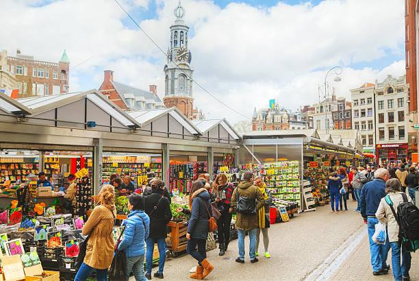 street blumenmarkt in amsterdam - günstig nach amsterdam stock-fotos und bilder
