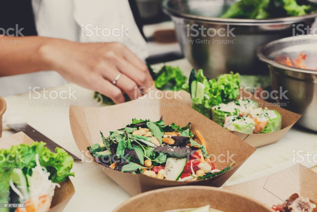 Street food festival, delivery, catering service stock photo