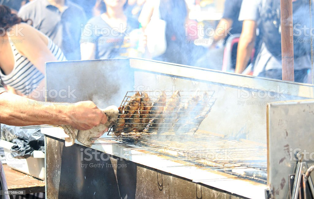 Street Food Grilled Fish stock photo