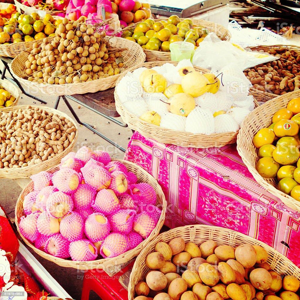 Street Food in Cambodia: Fresh Fruits stock photo
