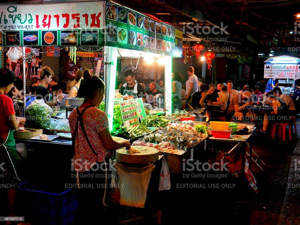 Street food in China Town, Bangkok stock photo