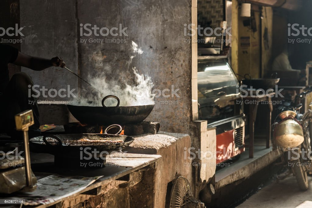 Street food in India. stock photo