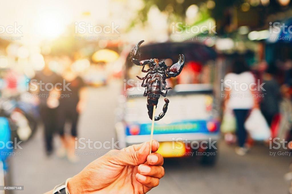 Street food market in Bangkok stock photo